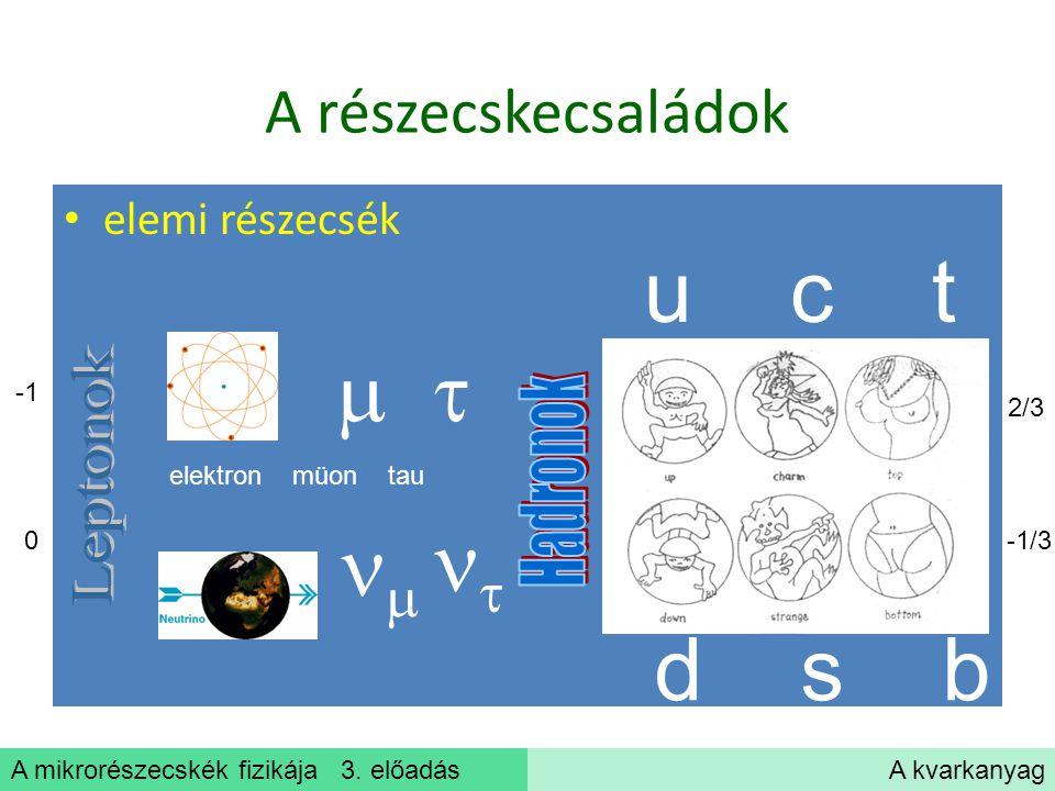u c t     d s b A részecskecsaládok Leptonok Hadronok