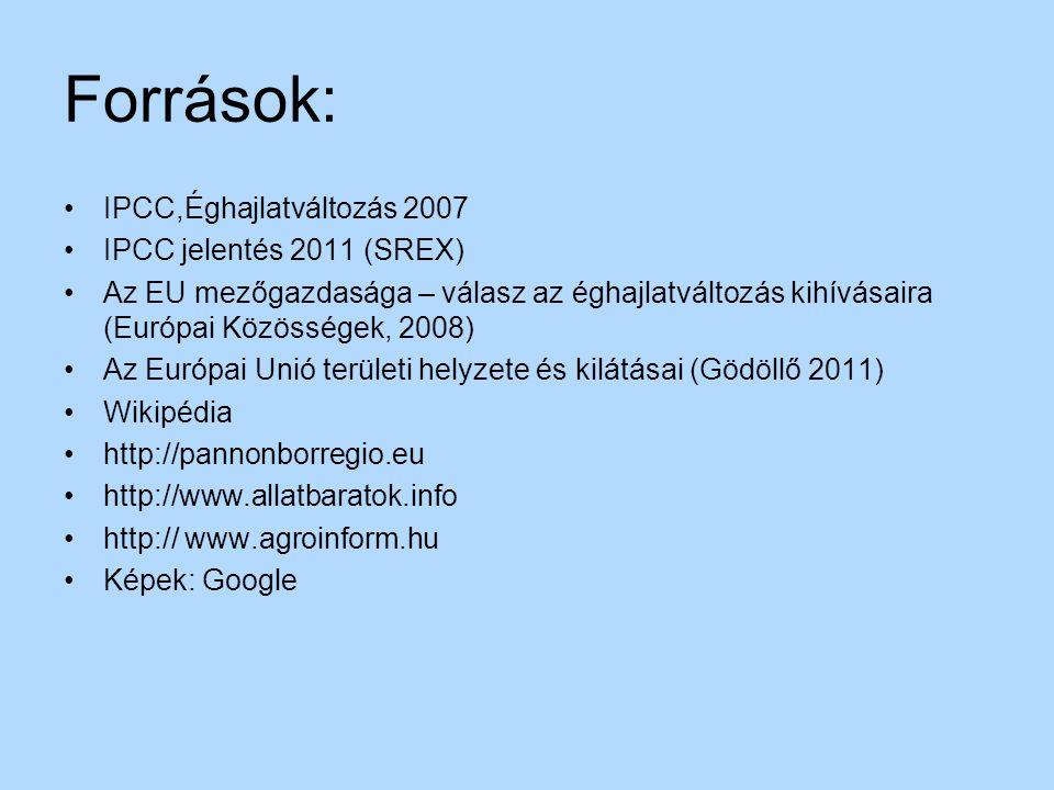 Források: IPCC,Éghajlatváltozás 2007 IPCC jelentés 2011 (SREX)