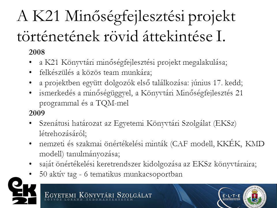 A K21 Minőségfejlesztési projekt történetének rövid áttekintése I.