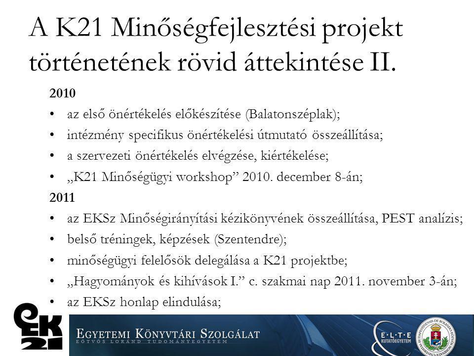 A K21 Minőségfejlesztési projekt történetének rövid áttekintése II.