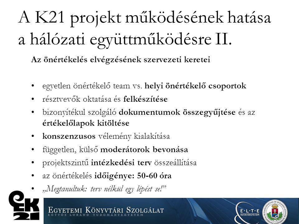 A K21 projekt működésének hatása a hálózati együttműködésre II.