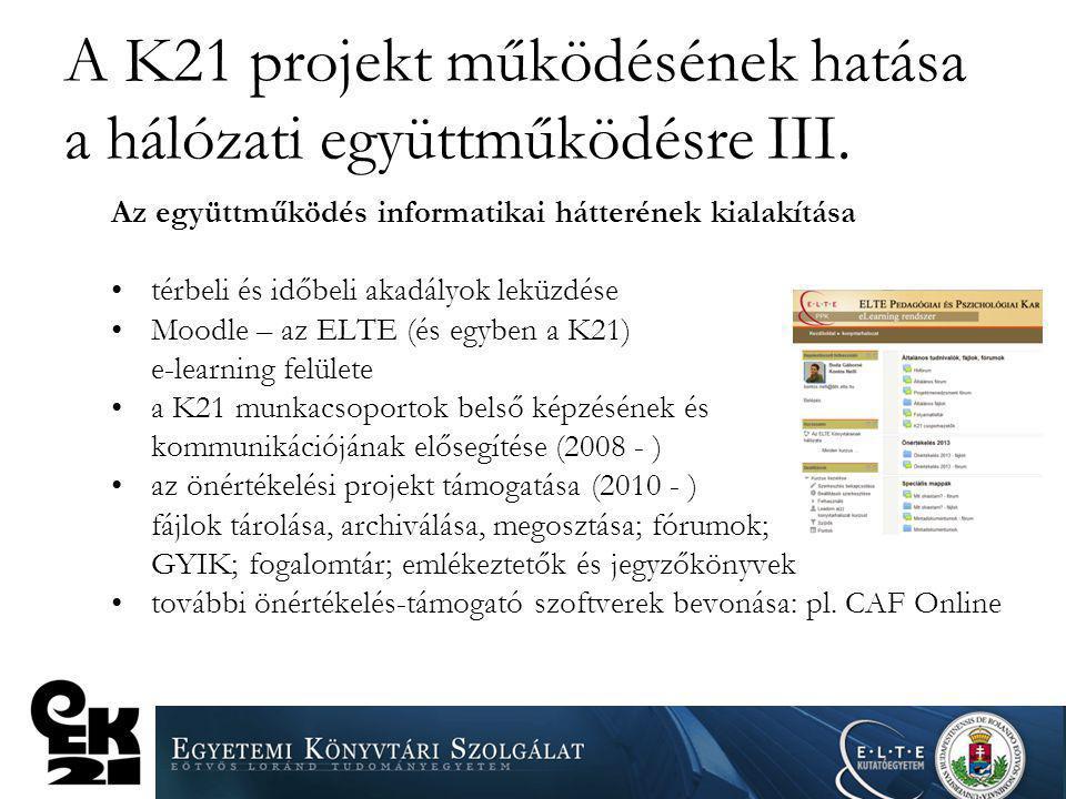 A K21 projekt működésének hatása a hálózati együttműködésre III.