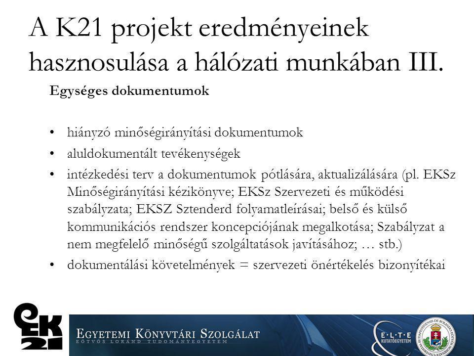 A K21 projekt eredményeinek hasznosulása a hálózati munkában III.