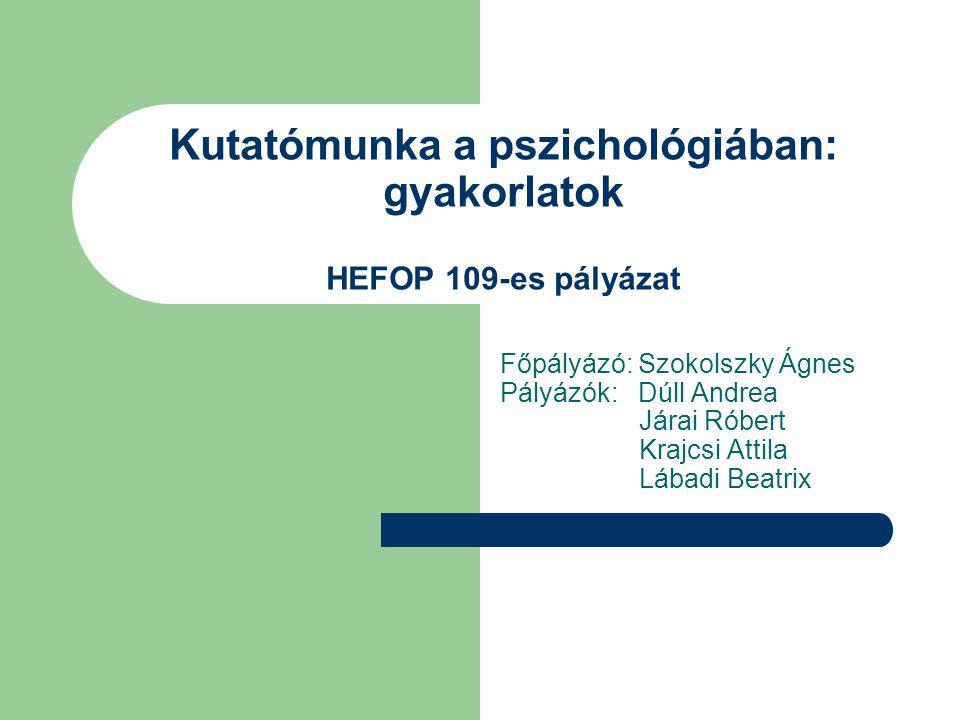 Kutatómunka a pszichológiában: gyakorlatok HEFOP 109-es pályázat