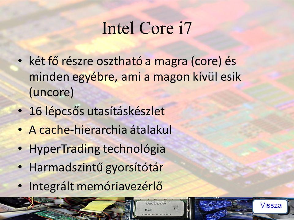 Intel Core i7 két fő részre osztható a magra (core) és minden egyébre, ami a magon kívül esik (uncore)