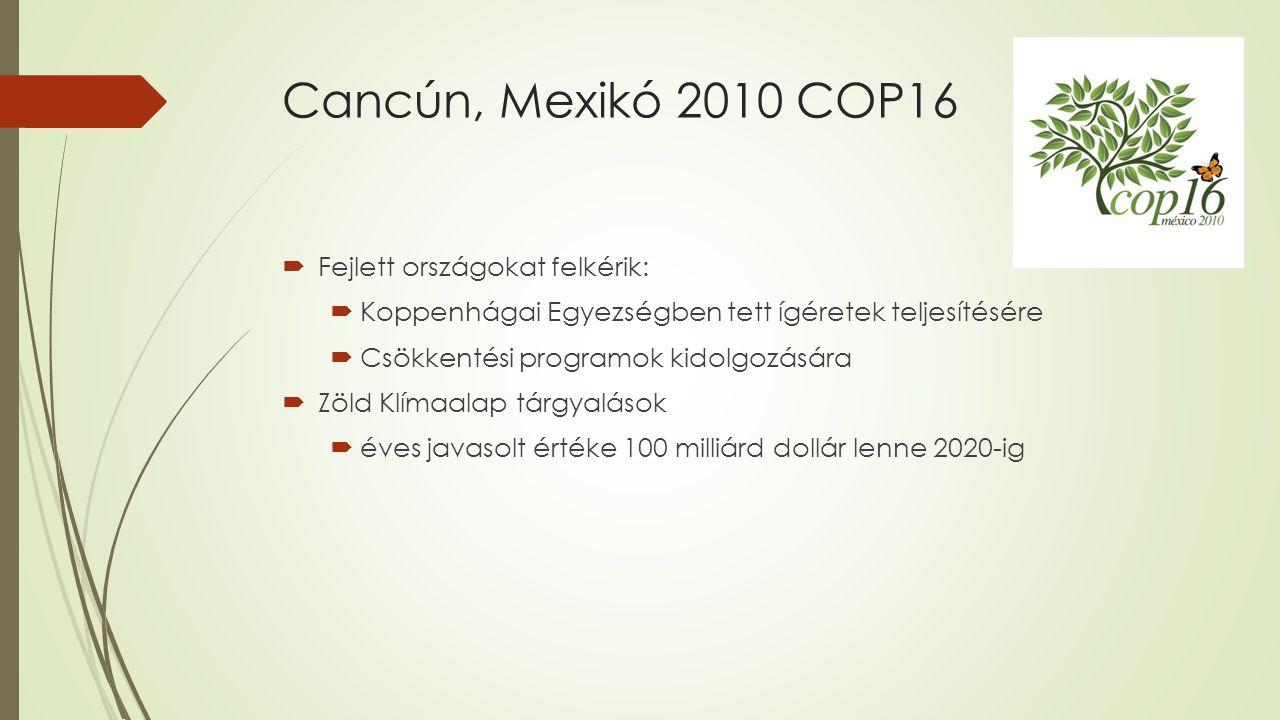 Cancún, Mexikó 2010 COP16 Fejlett országokat felkérik: