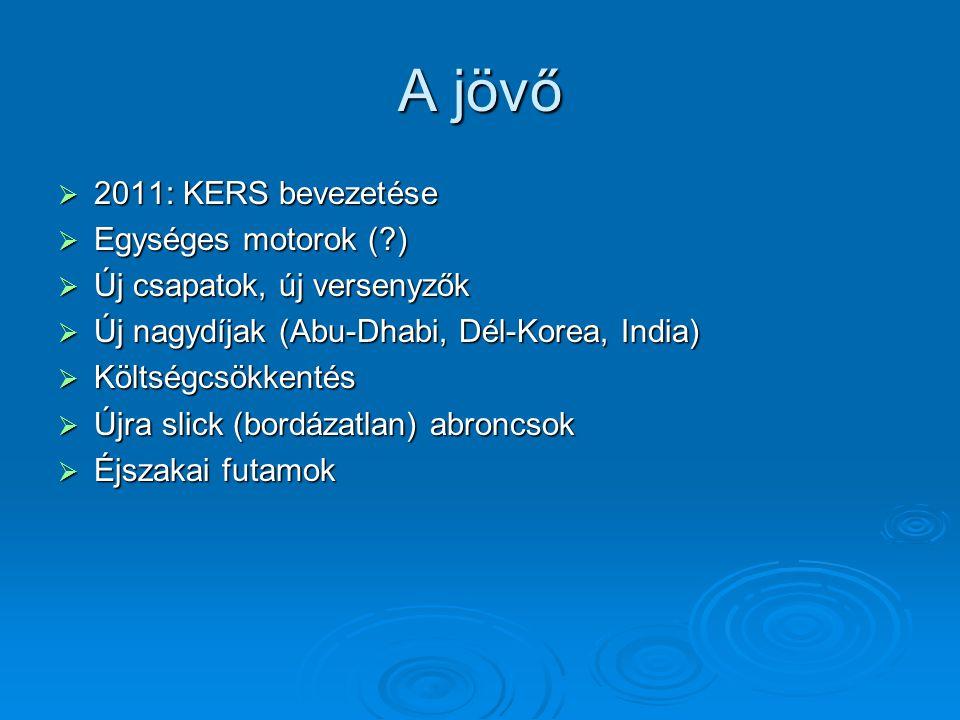 A jövő 2011: KERS bevezetése Egységes motorok ( )