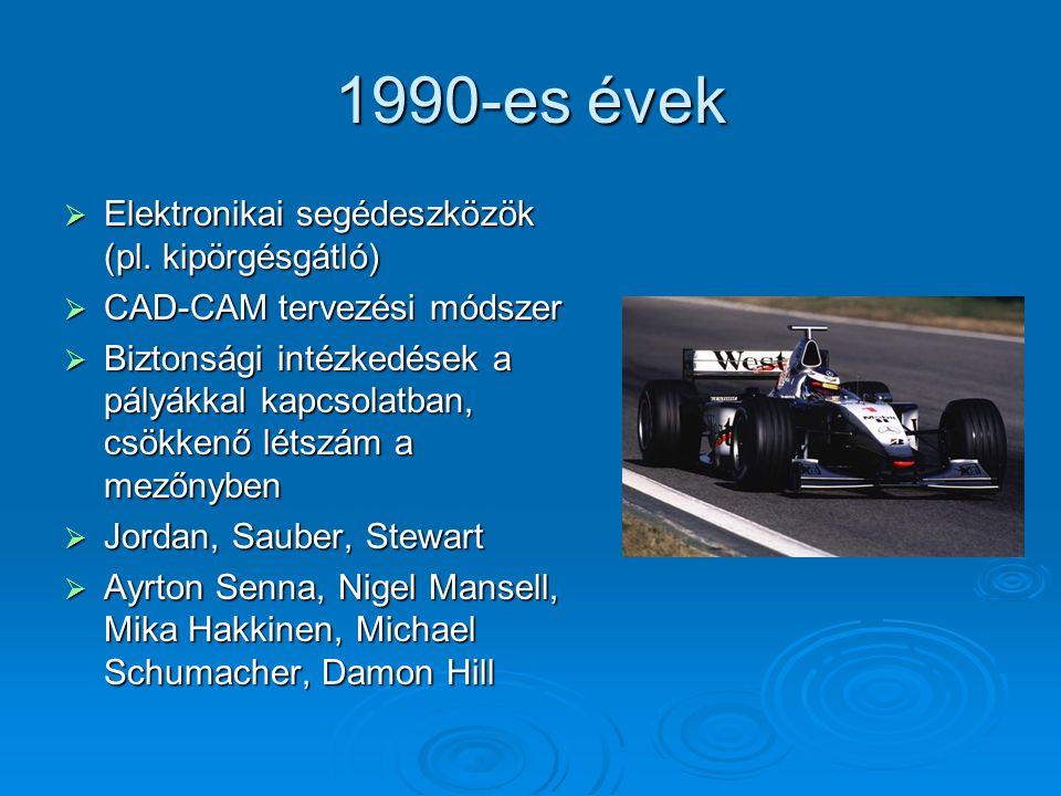 1990-es évek Elektronikai segédeszközök (pl. kipörgésgátló)