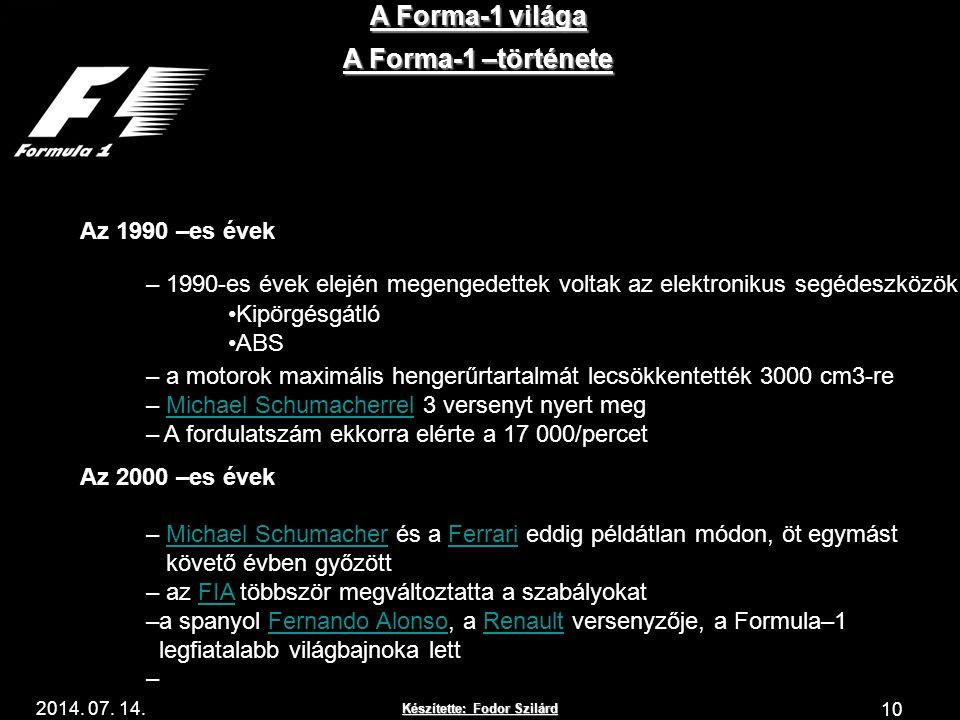 A Forma-1 világa A Forma-1 –története