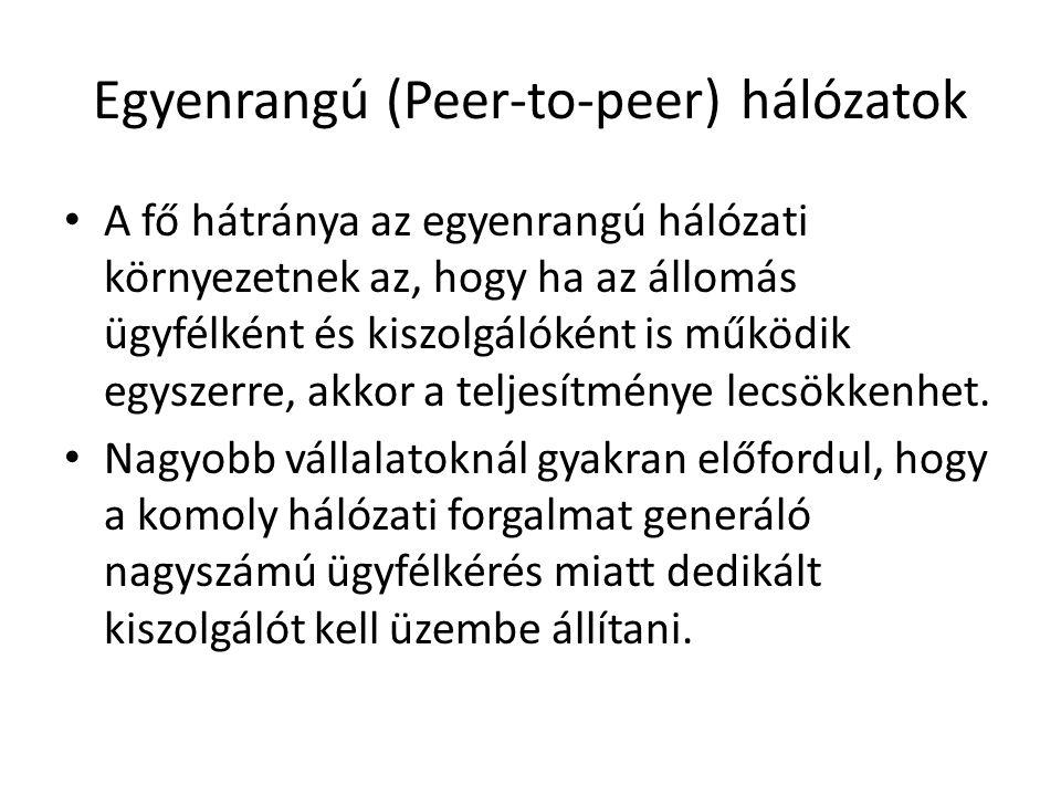 Egyenrangú (Peer-to-peer) hálózatok