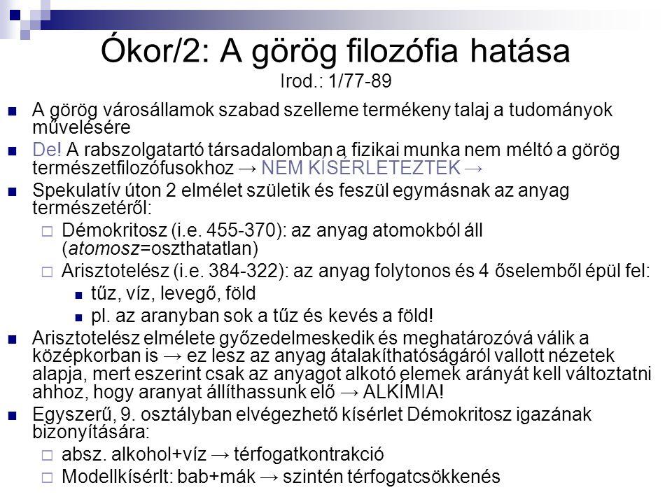 Ókor/2: A görög filozófia hatása Irod.: 1/77-89