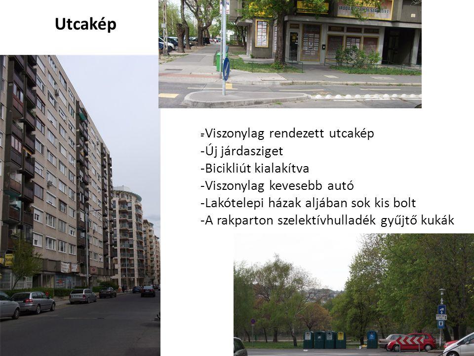 Utcakép Viszonylag rendezett utcakép Új járdasziget
