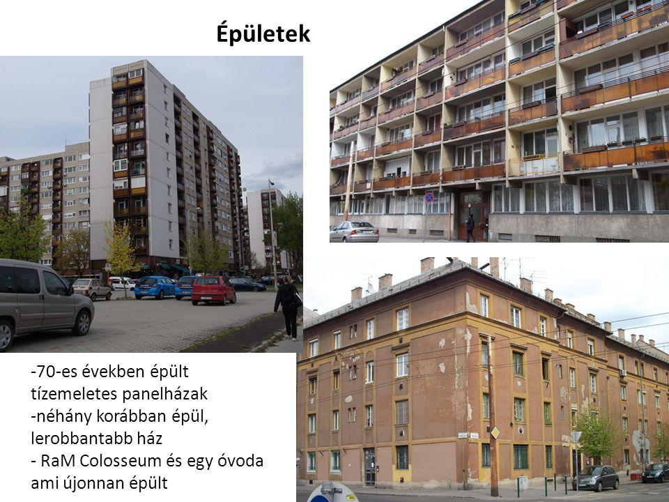 Épületek -70-es években épült tízemeletes panelházak