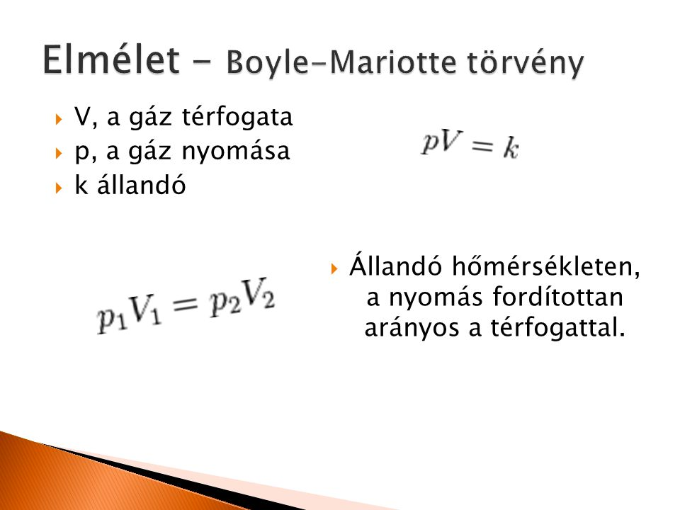 Elmélet - Boyle-Mariotte törvény
