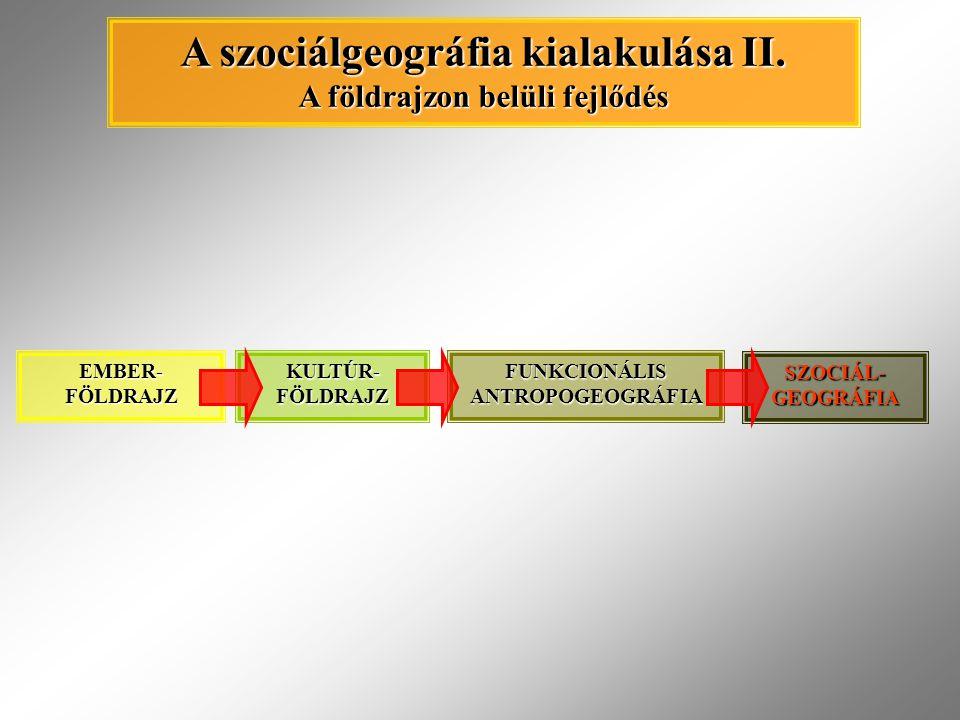 A szociálgeográfia kialakulása II. A földrajzon belüli fejlődés
