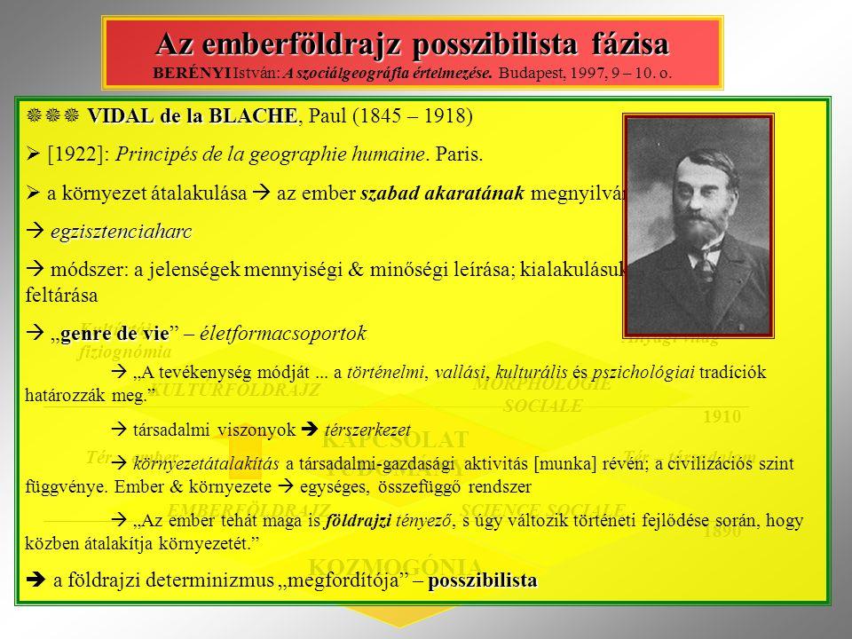 Az emberföldrajz posszibilista fázisa BERÉNYI István: A szociálgeográfia értelmezése. Budapest, 1997, 9 – 10. o.