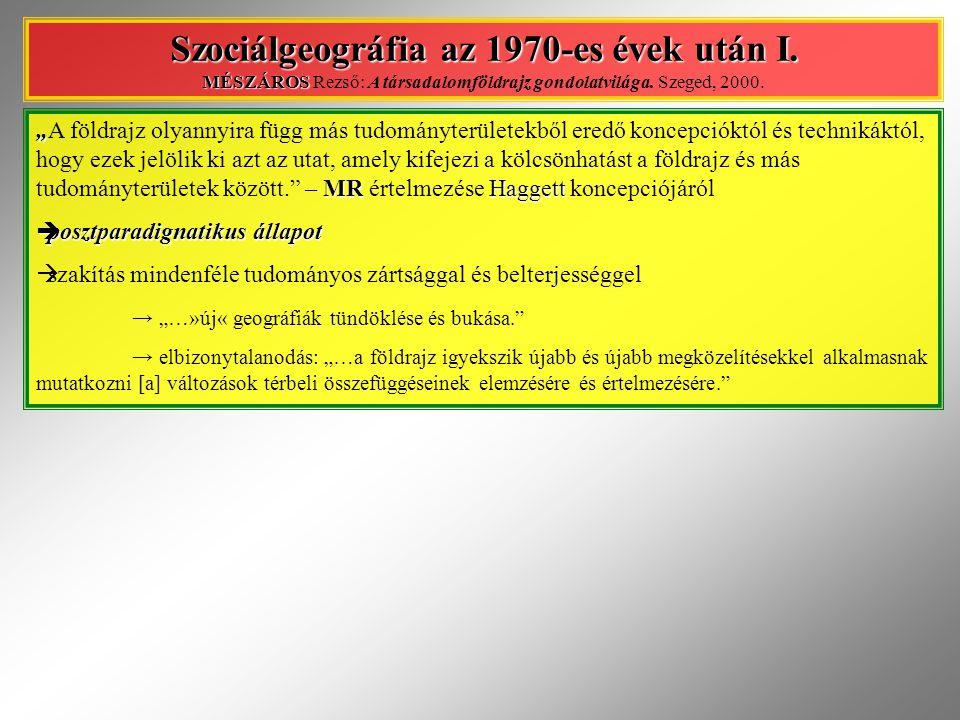 Szociálgeográfia az 1970-es évek után I