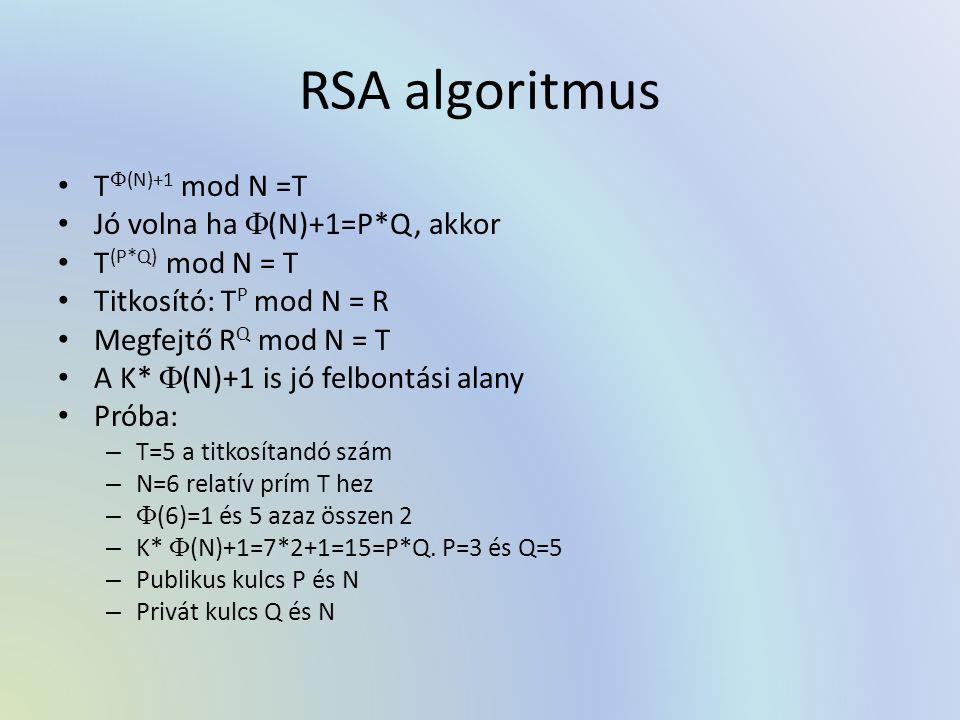 RSA algoritmus T(N)+1 mod N =T Jó volna ha (N)+1=P*Q, akkor