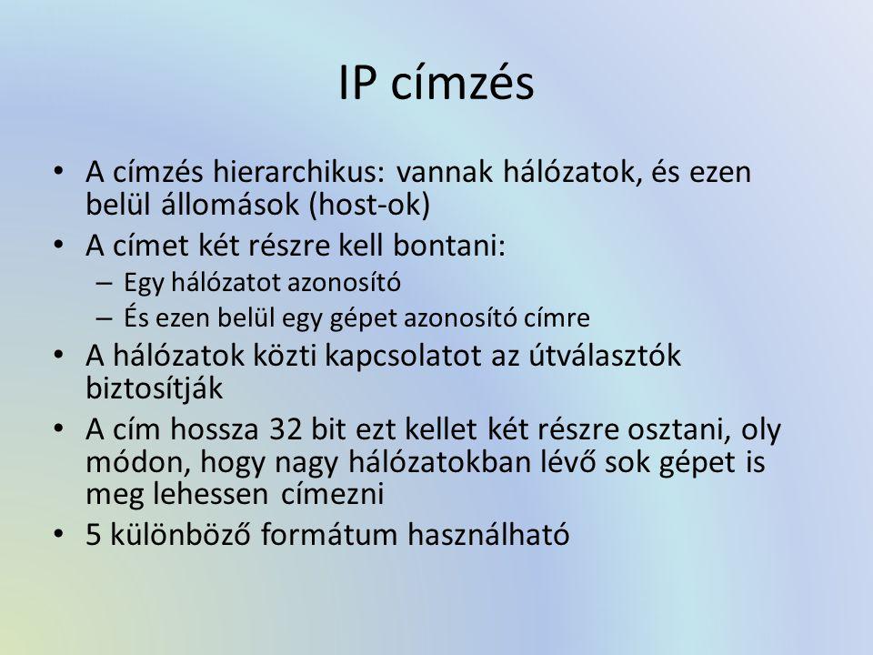 IP címzés A címzés hierarchikus: vannak hálózatok, és ezen belül állomások (host-ok) A címet két részre kell bontani: