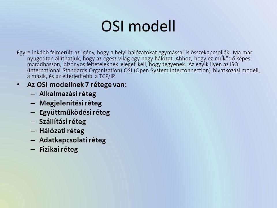 OSI modell Az OSI modellnek 7 rétege van: Alkalmazási réteg