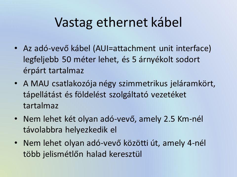 Vastag ethernet kábel Az adó-vevő kábel (AUI=attachment unit interface) legfeljebb 50 méter lehet, és 5 árnyékolt sodort érpárt tartalmaz.