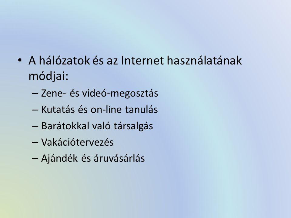 A hálózatok és az Internet használatának módjai: