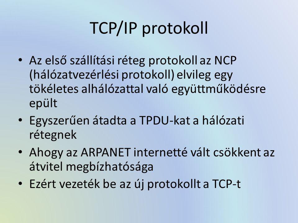 TCP/IP protokoll Az első szállítási réteg protokoll az NCP (hálózatvezérlési protokoll) elvileg egy tökéletes alhálózattal való együttműködésre epült.