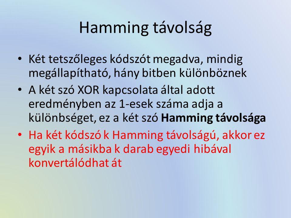 Hamming távolság Két tetszőleges kódszót megadva, mindig megállapítható, hány bitben különböznek.