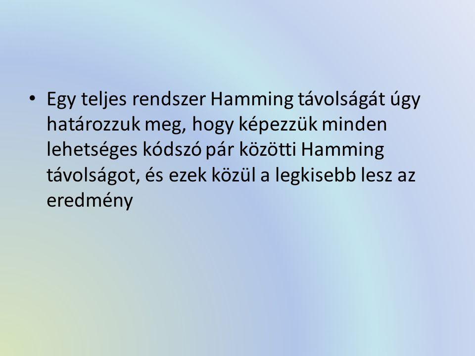 Egy teljes rendszer Hamming távolságát úgy határozzuk meg, hogy képezzük minden lehetséges kódszó pár közötti Hamming távolságot, és ezek közül a legkisebb lesz az eredmény