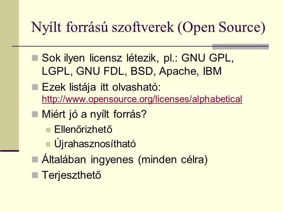 Nyílt forrású szoftverek (Open Source)