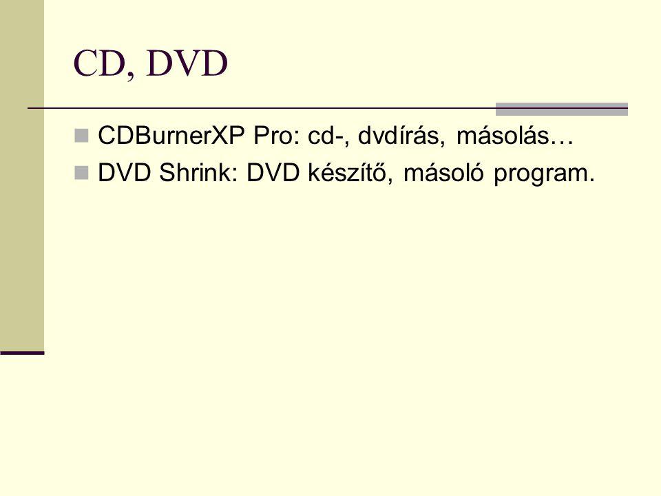 CD, DVD CDBurnerXP Pro: cd-, dvdírás, másolás…