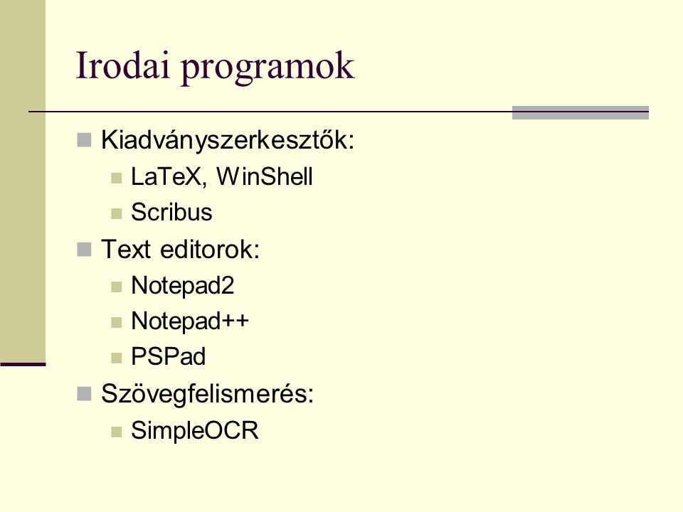 Irodai programok Kiadványszerkesztők: Text editorok: Szövegfelismerés:
