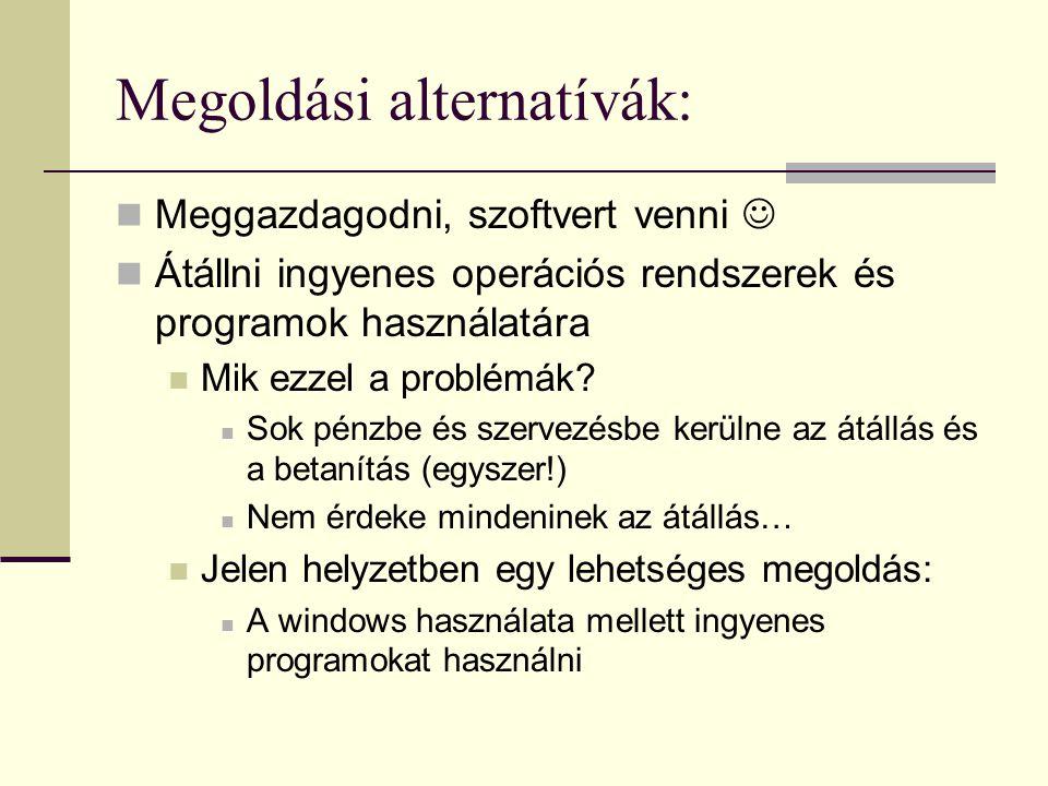 Megoldási alternatívák:
