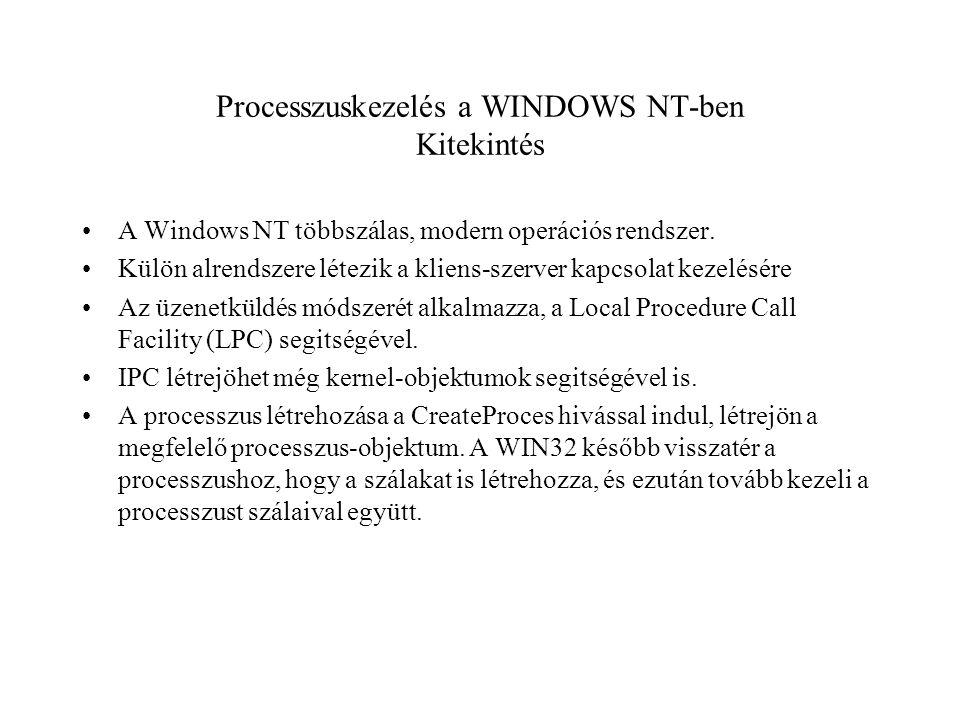 Processzuskezelés a WINDOWS NT-ben Kitekintés