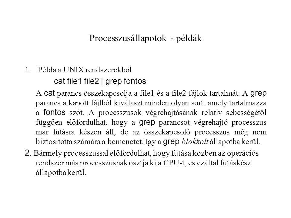Processzusállapotok - példák