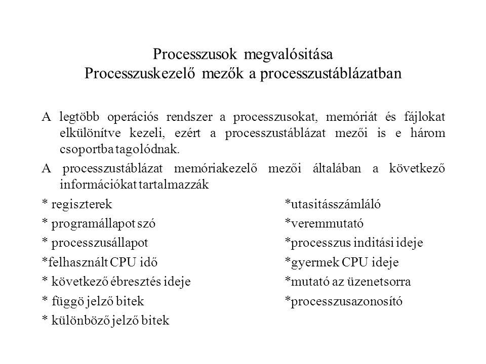 Processzusok megvalósitása Processzuskezelő mezők a processzustáblázatban