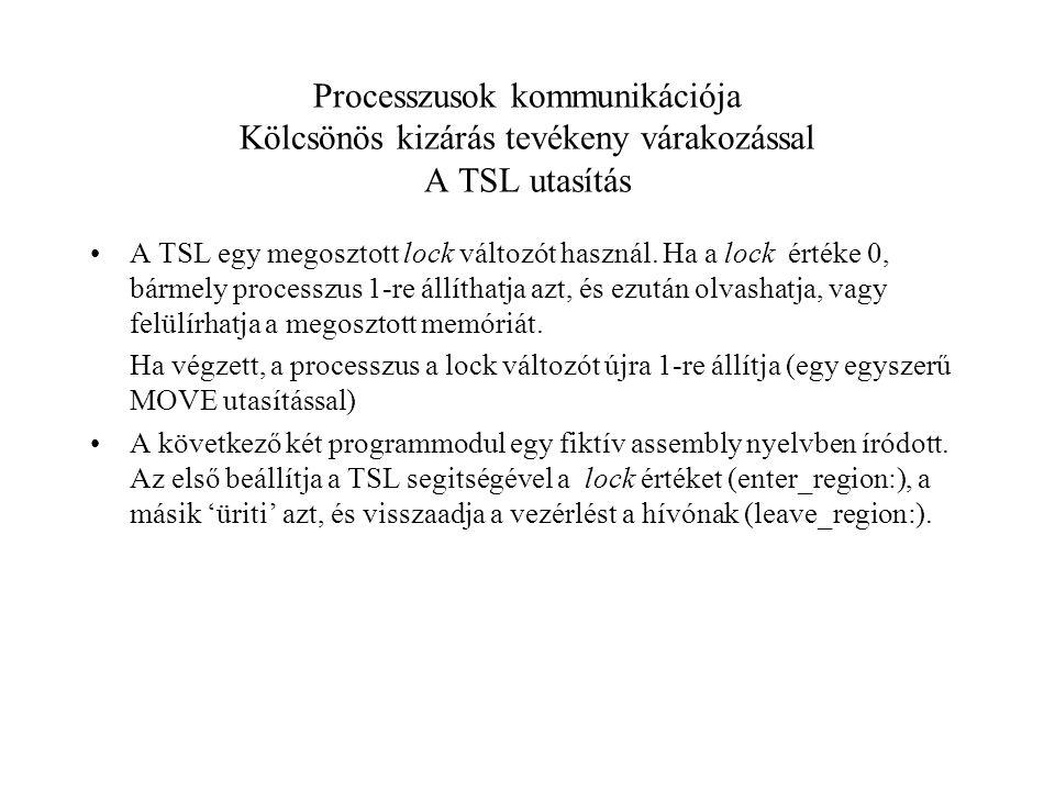 Processzusok kommunikációja Kölcsönös kizárás tevékeny várakozással A TSL utasítás