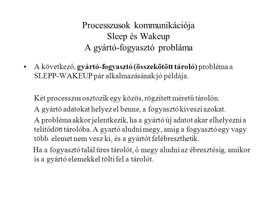 Processzusok kommunikációja Sleep és Wakeup A gyártó-fogyasztó probláma