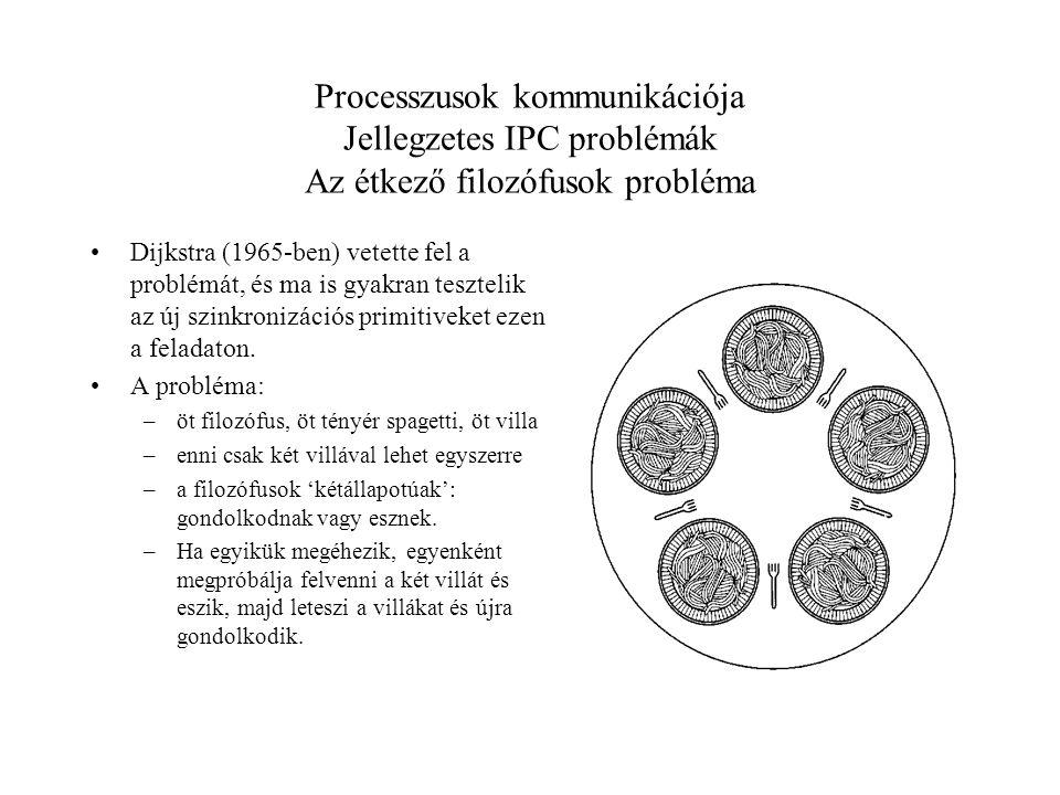 Processzusok kommunikációja Jellegzetes IPC problémák Az étkező filozófusok probléma