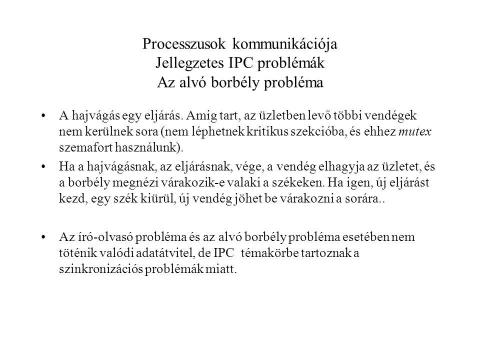 Processzusok kommunikációja Jellegzetes IPC problémák Az alvó borbély probléma