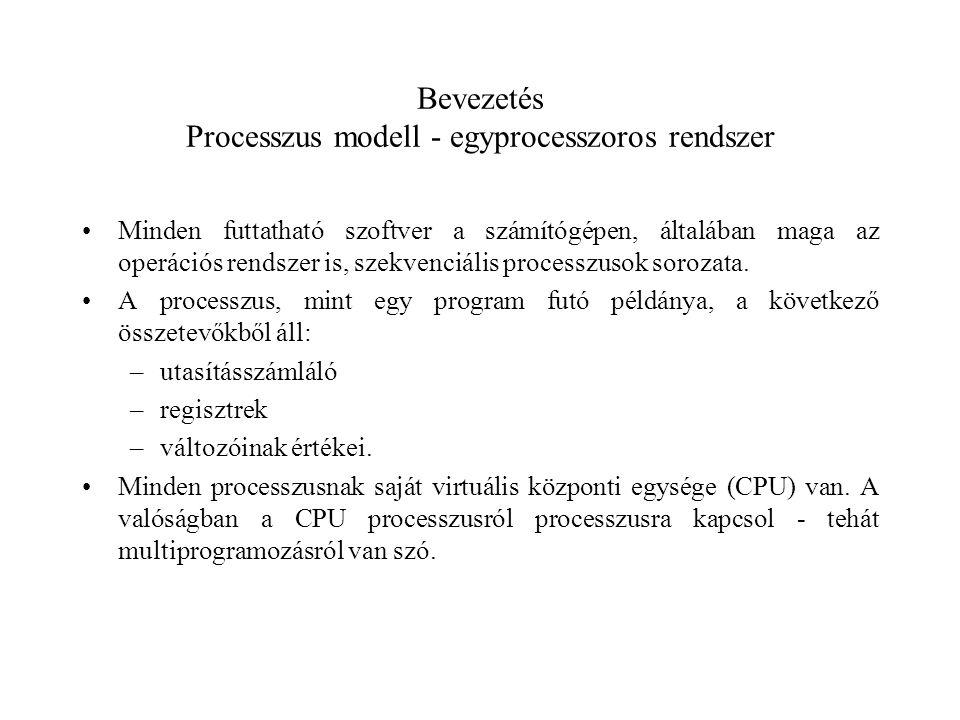 Bevezetés Processzus modell - egyprocesszoros rendszer