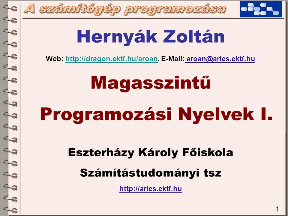 Hernyák Zoltán Magasszintű Programozási Nyelvek I.