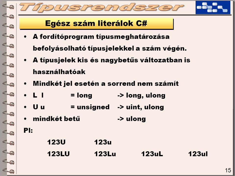 Egész szám literálok C#