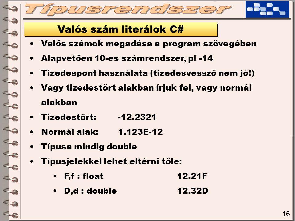 Valós szám literálok C#