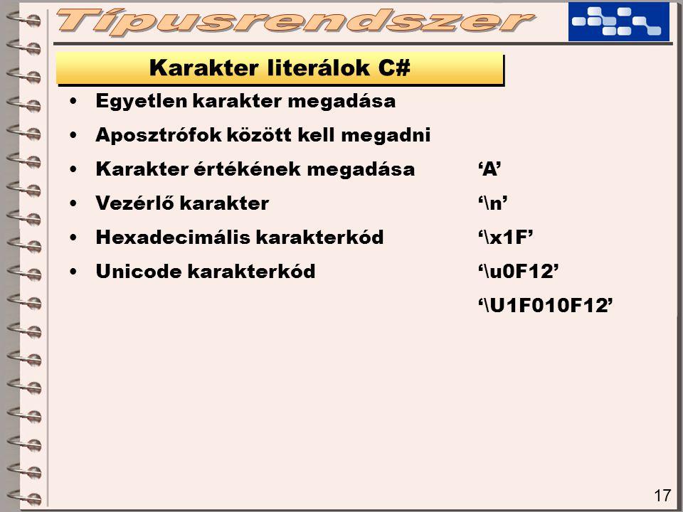 Típusrendszer Karakter literálok C# Egyetlen karakter megadása