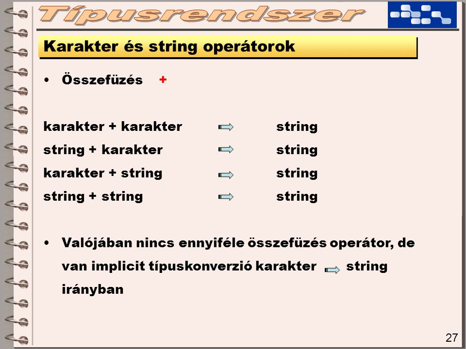 Típusrendszer Karakter és string operátorok Összefüzés +