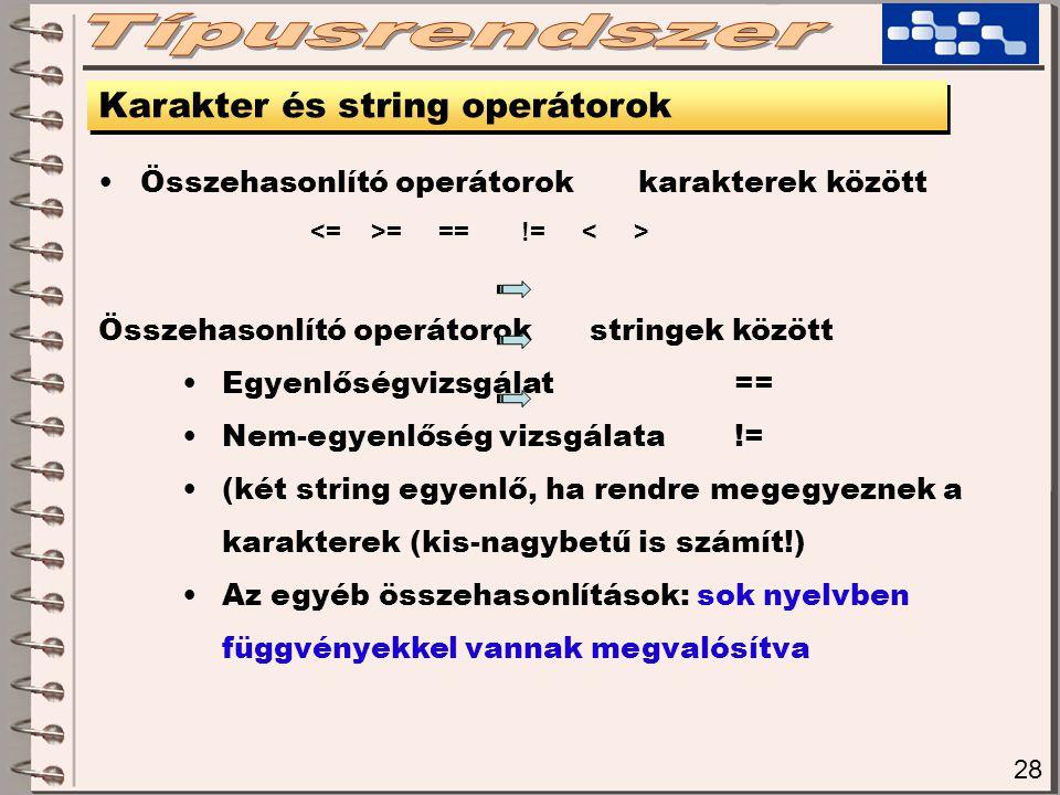 Típusrendszer Karakter és string operátorok
