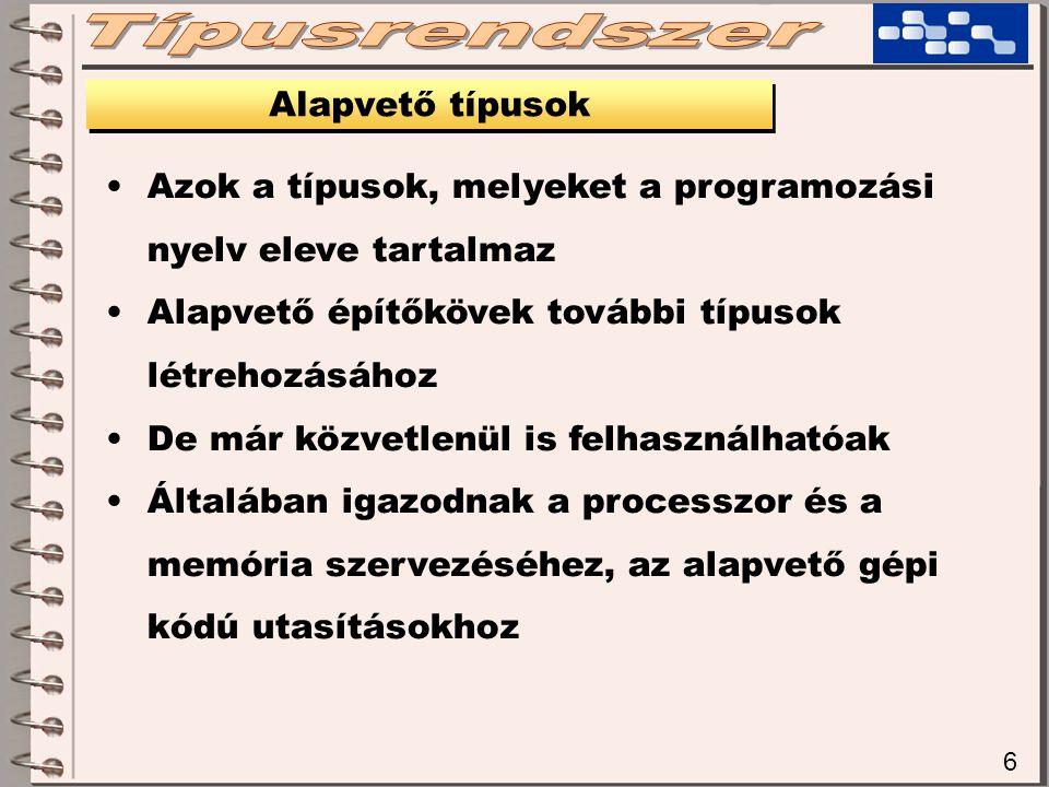 Típusrendszer Alapvető típusok