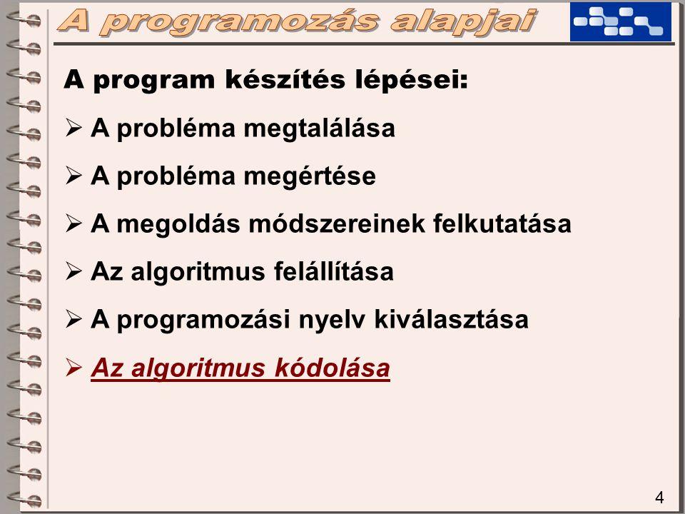 A programozás alapjai A program készítés lépései: