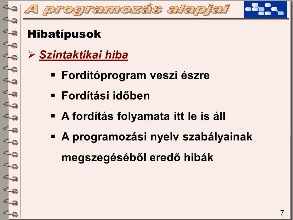 A programozás alapjai Hibatípusok Szintaktikai hiba